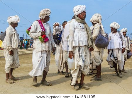 Allahabad India- CIRCA Jan 2013 - Hindu pilgrims arrive from their village to the Kumbha Mela in Allahabad India circa Jan 2013.