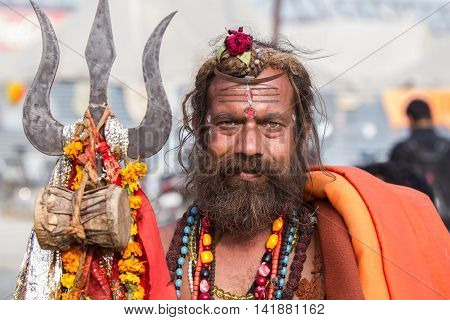 A Hindu Sadhu At The Kumbha Mela, India.