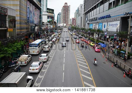 Traffic On A Busy City Centre Road In Bangkok, Thailand