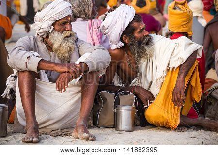 Hindu Sadhus At The Kumbha Mela, India.