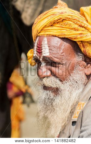 ALLAHABAD, INDIA - FEB 9th - An old sadhu wearing Vaishnava tilak on his forehead at the Kumbha Mela on February 9th 2013