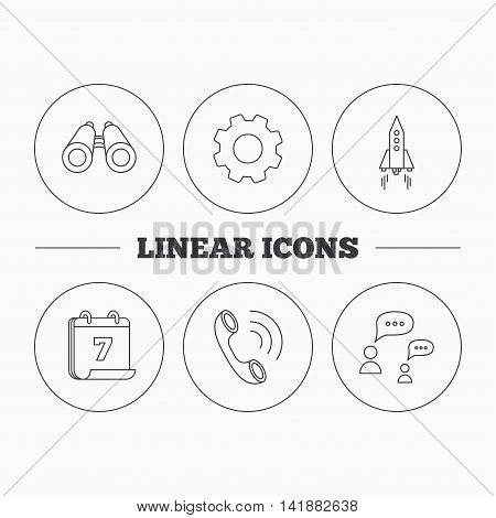 Phone call, chat speech bubble and binoculars icons. Rocket linear sign. Flat cogwheel and calendar symbols. Linear icons in circle buttons. Vector