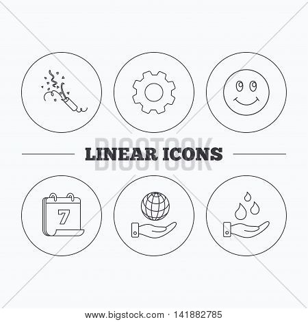 Save water, save planet and slapstick icons. Smiling face linear sign. Flat cogwheel and calendar symbols. Linear icons in circle buttons. Vector