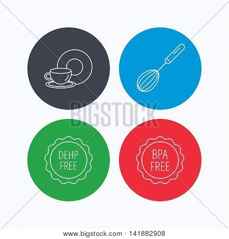 Food and drink, whisk and BPA free icons. DEHP free linear sign. Linear icons on colored buttons. Flat web symbols. Vector