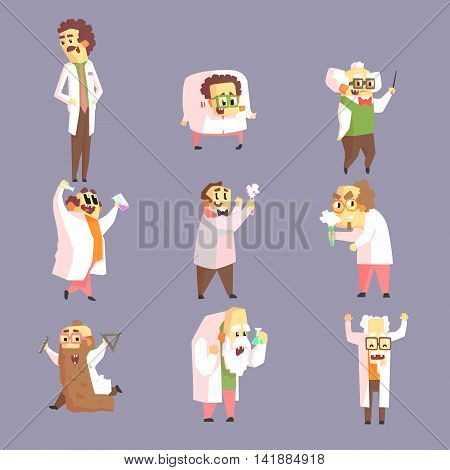 Set Of Funny Mad Scientists In Lab Coats Character Drawings On Purple Background In Funny Geometric Style
