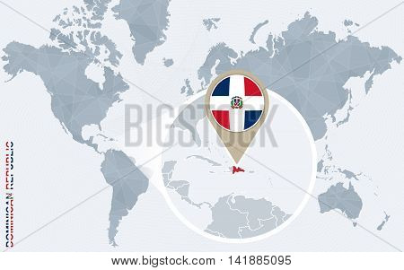 Abstract Blue World Map With Magnified Dominican Republic.