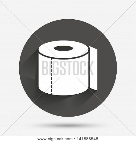 Toilet paper sign icon. WC roll symbol. Circle flat button with shadow. Vector