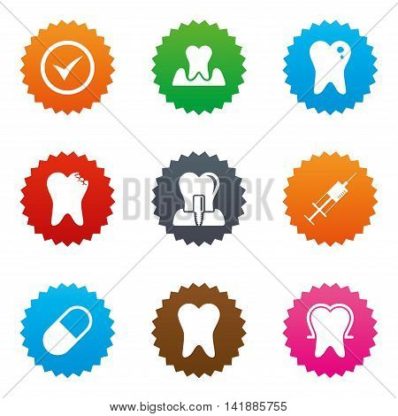 Tooth, dental care icons. Stomatology, syringe and implant signs. Healthy teeth, caries and pills symbols. Stars label button with flat icons. Vector