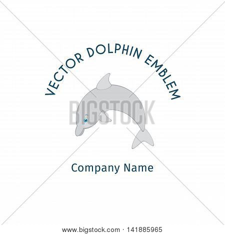 Jumping dolphin logo template. Vector cartoon emblem for resorts or hotels by the sea, dolphin show, dolphinarium