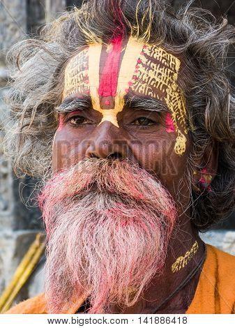 NEPAL, KATHMANDU, May 6th 2014 - A Hindu holy man at the shrine of Pashupatinath.