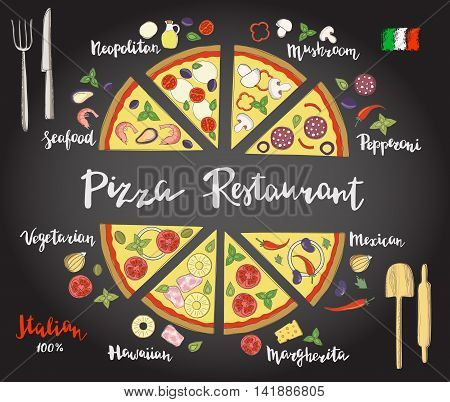 Vector set of hand drawn slices of pizza popular varieties, margarita, neapolitan, pepperoni, mexican, hawaiian, seafood, vegetarian and hand lettering isolated on a on the chalk board.