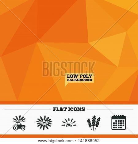 Triangular low poly orange background. Tractor icons. Wreath of Wheat corn signs. Agricultural industry transport symbols. Calendar flat icon. Vector