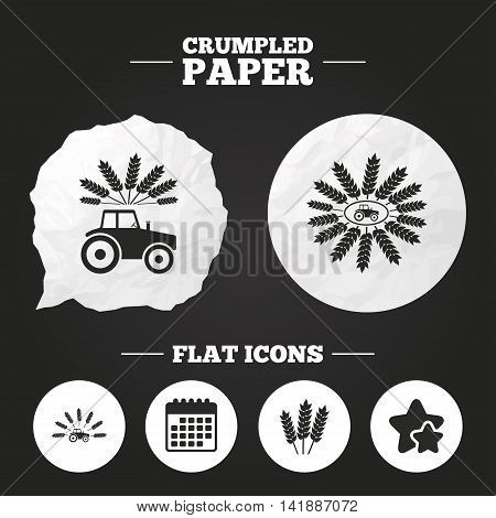 Crumpled paper speech bubble. Tractor icons. Wreath of Wheat corn signs. Agricultural industry transport symbols. Paper button. Vector
