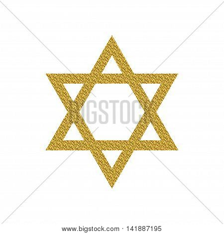 Vector illustration of Magen David with golden glitter. Star of David isolated on a white background