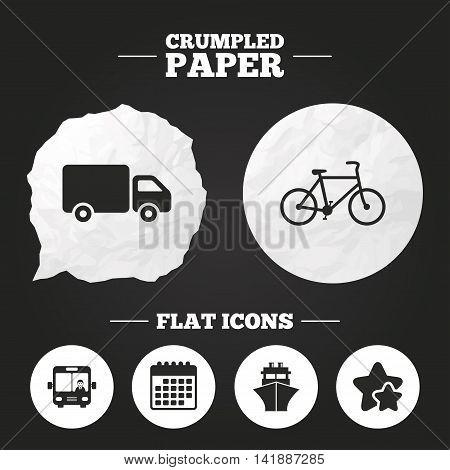 Crumpled paper speech bubble. Transport icons. Truck, Bicycle, Public bus with driver and Ship signs. Shipping delivery symbol. Family vehicle sign. Paper button. Vector
