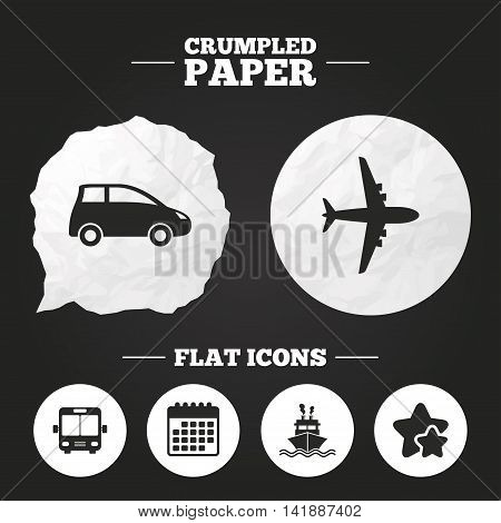 Crumpled paper speech bubble. Transport icons. Car, Airplane, Public bus and Ship signs. Shipping delivery symbol. Air mail delivery sign. Paper button. Vector