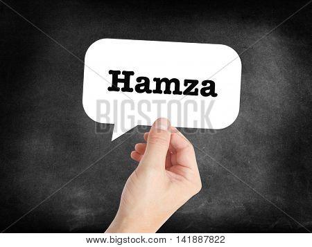 Hamza written in a speechbubble