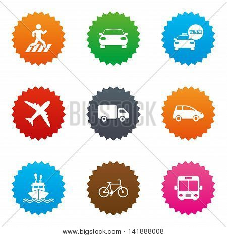 Transport icons. Car, bike, bus and taxi signs. Shipping delivery, pedestrian crossing symbols. Stars label button with flat icons. Vector