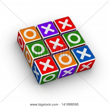 tic tac toe cubes game 3D illustration