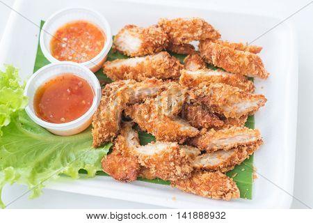 Closeup Deep fried breaded chicken ( chicken breast )