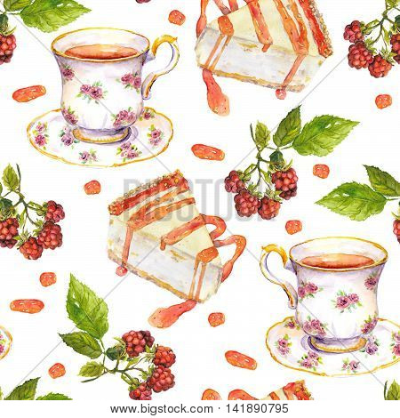 Seamless repeated pattern with tea cup, raspberry berries and dessert cakes on white background