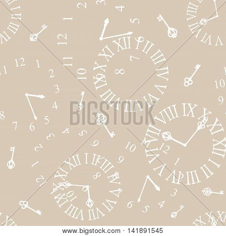 Seamless pattern with white wintage clockfaces on beige background