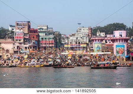 VARANASI, INDIA - FEB 19 -The ghats of Varanasi in North India on February 19th 2013