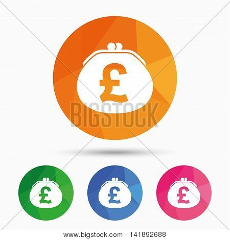 Wallet pound sign icon. Cash bag symbol. Triangular low poly button with flat icon. Vector
