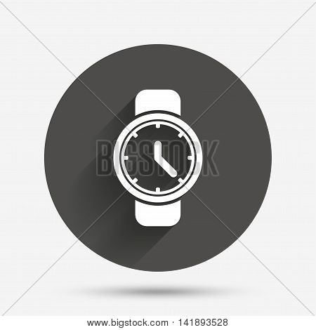 Wrist Watch sign icon. Mechanical clock symbol. Men hand watch. Circle flat button with shadow. Vector