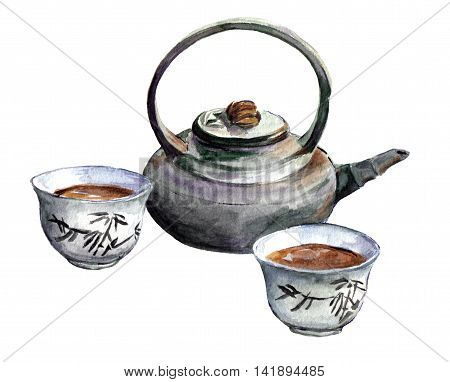 Traditional china tea set for Chinese tea - cups, teapot. Watercolor