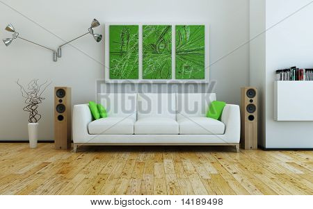 Sofa and speakers