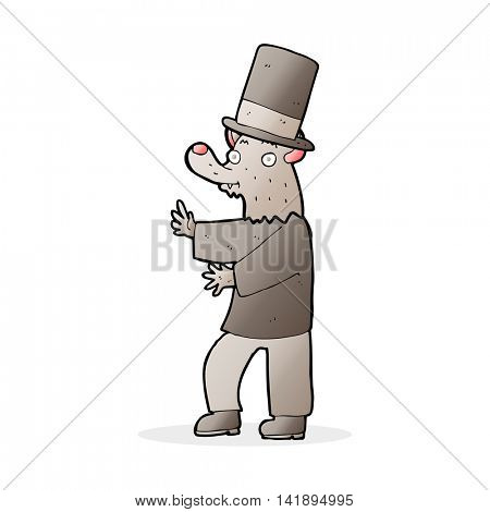 cartoon werewolf in top hat
