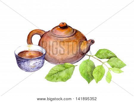 Tea concept: japanese vintage teapot, tea cup and green leaves. Watercolor