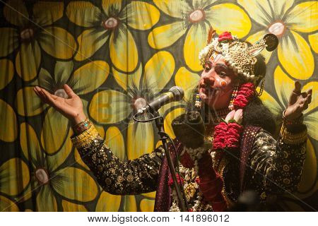 VRINDAVAN, INDIA - AUG 18th - A Child in a Traditional Religious Drama