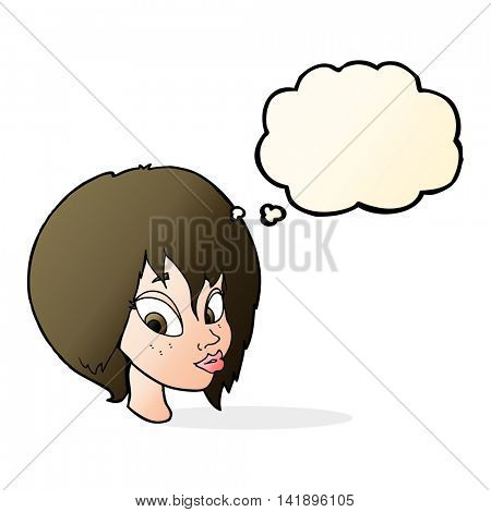 cartoon pretty female face pouting with thought bubble