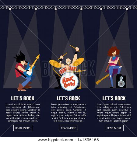 Rock band music group with musicians concept of artistic people vector illustration