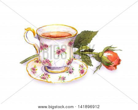 Tea cup with tea and rose flower. Watercolor