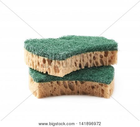 Pile of two artificial fiber kitchen sponges isolated over the white background