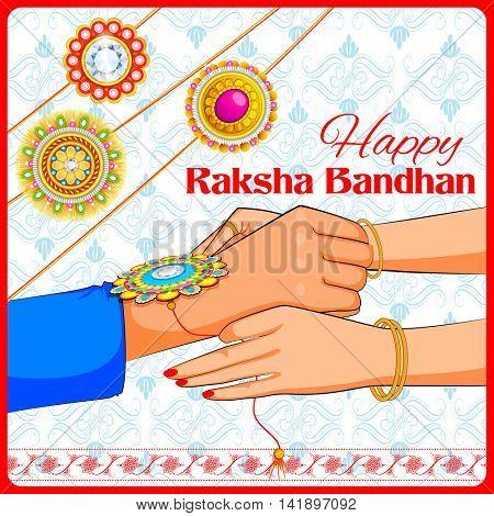 illustration of brother and sister tying rakhi on Raksha Bandhan
