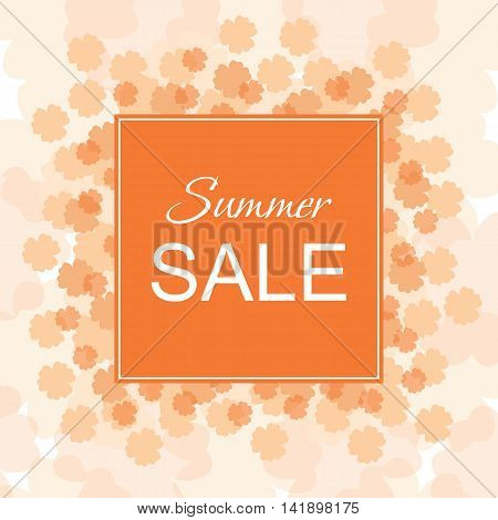 Sale banner with flowers and frame. Summer Sale. Vector illustration.