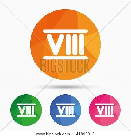 Roman numeral eight sign icon. Roman number eight symbol. Triangular low poly button with flat icon. Vector