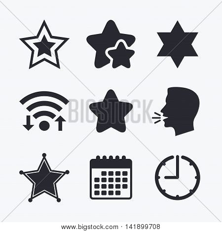 Star of David icons. Sheriff police sign. Symbol of Israel. Wifi internet, favorite stars, calendar and clock. Talking head. Vector