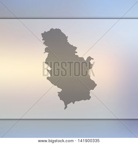 Serbia map on blurred background. Blurred background with silhouette of Serbia. Serbia. Serbia silhouette. Serbia vector map. Serbia flag.
