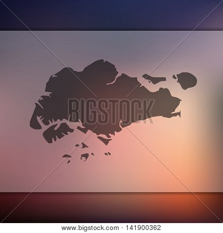 Singapore map on blurred background. Blurred background with silhouette of Singapore. Singapore. Singapore silhouette. Singapore vector map. Singapore flag.