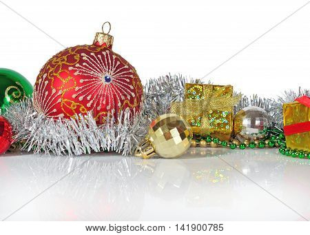 Christmas Decorations On A White