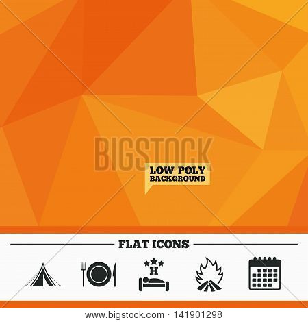 Triangular low poly orange background. Food, sleep, camping tent and fire icons. Knife, fork and dish. Hotel or bed and breakfast. Road signs. Calendar flat icon. Vector