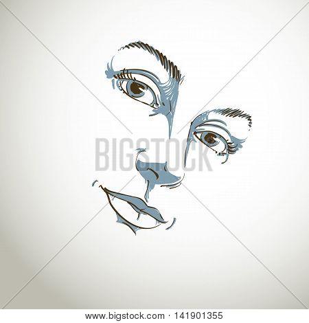 Hand-drawn art portrait of white-skin romantic woman face emotions theme illustration.