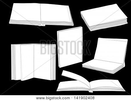 illustration with group of books isolated on black background