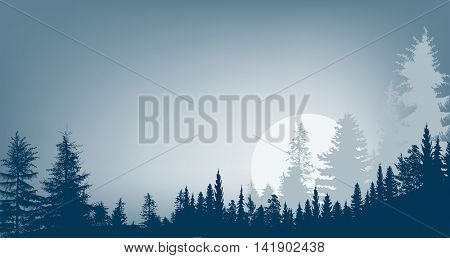 illustration with blue forest and large full moon