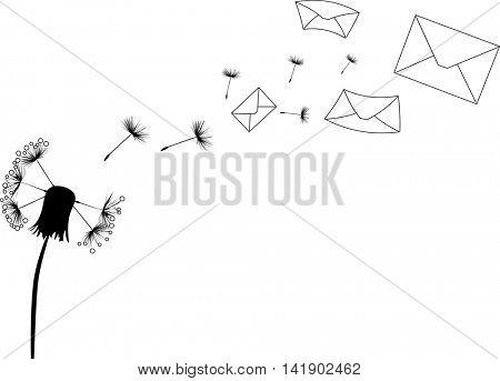 illustration with dandelion and flying envelopes isolated on white background